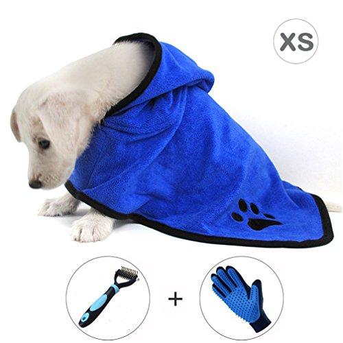 Rake-wrap (Ownmax Dog Bathrobe Towel, Pet Bath Robe with Adjustable Straps Hood Microfiber Fast Drying, Dog Grooming Glove and Grooming Dematting Rake Brush Comb Included (XSmall: 12 inch))