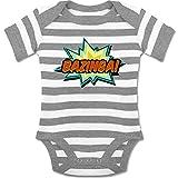 Up to Date Baby - Bazinga! - 1-3 Monate - Grau meliert/Weiß - BZ10S - gestreifter kurzarm Baby-Strampler / Body für Jungen und Mädchen