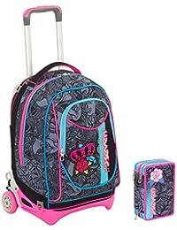 d35ca30041 Seven Trolley New Jack + Astuccio - Roses Girl - Nero e Rosa - SGANCIABILE e