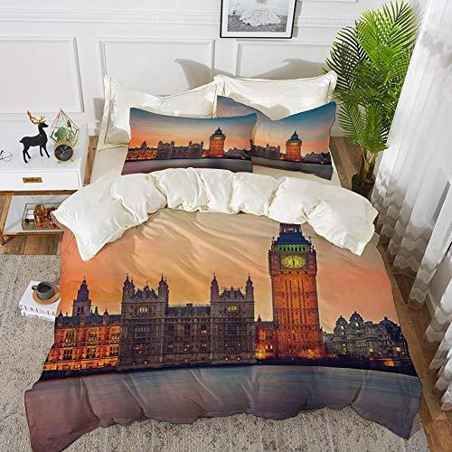 Bettwäsche-Set, Mikrofaser, London, Fairy View von Big Ben und Houses of Parliament in der Abenddämmerung in London British Urban Town, Multicolo,1 Bettbezug 200 x 200cm + 2 Kopfkissenbezug 80x80cm (British-bettwäsche-set)