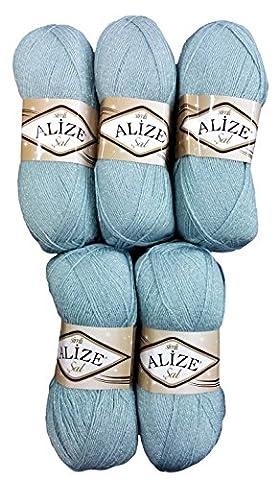 5 x 100 g Alize Glitzerwolle grau blau Nr. 114 zum Stricken und Häkeln, 500 Gramm Metallic –
