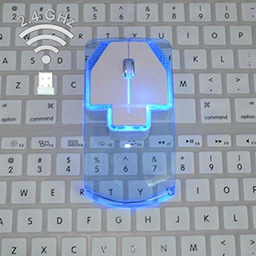radünne 1000DPI Glow-In-Dark-Gaming-Mäuse 2,4 G Wireless Mouse Silent Gamer für Notebook-Desktop(Blau) ()