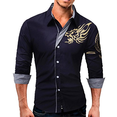 Hombres blusa casual Manga larga camisa de negocios Slim Fit blusa de calidad hight camisa By LMMVP (Marina, XXL)