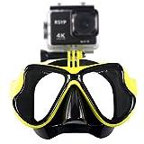 RSYP Gafas Buceo Máscaras de Buceo de cristal revestida para Submarinismo y Snorkel Compatible con cámara deportiva (Amarillo)