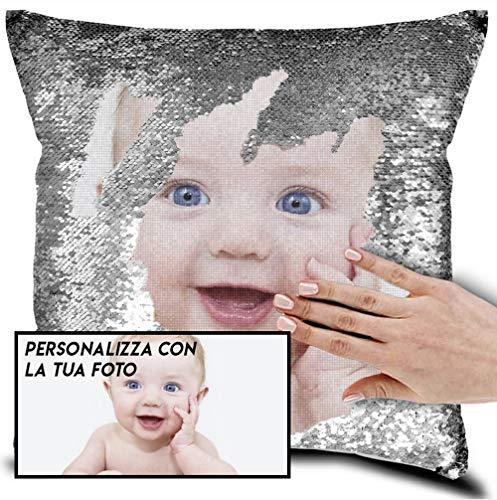 My digital print - cuscino personalizzato con la tua foto, cuscino di paillettes (imbottiti), dimensione 40x40cm, regalo san valentino (argento, cuscino completo)
