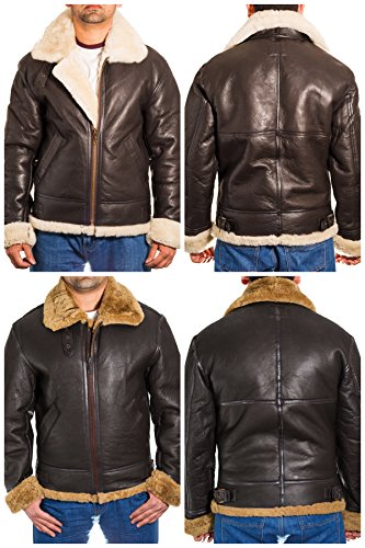A to Z Leather Mens Brown Aviator Classic B3 100% Sheepskin Pilot WW2 Flying Jacket