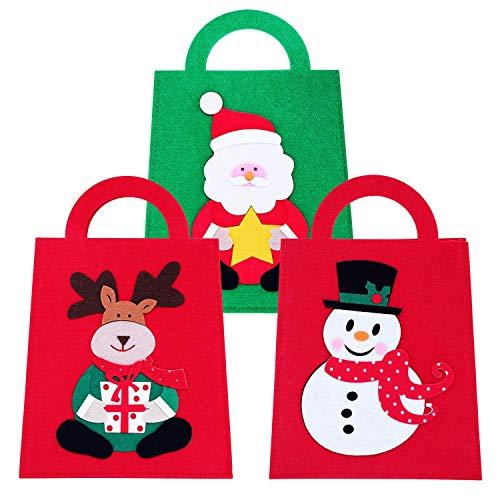 SOGREAT 3Pcs Weihnachtsgeschenktaschen,Weihnachten geschenktüten Papier mit Griffen,Weihnachten Süßigkeit Papier Taschen mit hässlichen Muster für Geschenk und Dekoration
