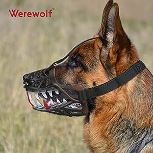Maulkorb Hunde Werwolf Zähne Design Bequeme Flexiblen Material Für Kleine Hunde und Mittelgroße Hunde(M, Werwolf Zähne)