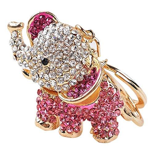Hrph Accesorios de moda afortunada cristalina del elefante llavero de coche y joyería bolsa de la hebilla del Rhinestone regalo