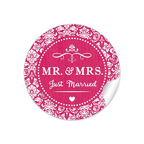 """24 STICKER:\""""MR. & MRS. - Just Married\"""" Schöne Hochzeitsaufkleber im\""""Shabby Chic gestreiften Packpapier Retro Look\"""" zur Hochzeit mit Ornamenten und Herz • Etiketten: 4 cm, rund, matt in Fuchsia"""