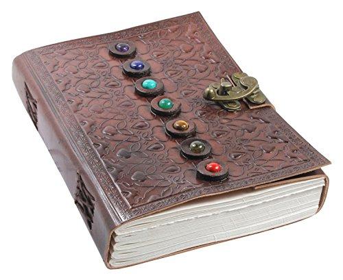 Carnet de Voyage Journal Intime en Cuir - Fait Main Carnet de Notes pour Filles et Garçons avec Des pierres précieuses Chakra - Papier Vierge,Vintage Marron A5 15 x 21 cm