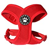 Softgeschirr Hundegeschirr Brustgeschirr XCross weich gepolstert verstellbar für kleine Hunde bis Mops rot Mesh NEU! S - L (L: ( Brustumfang 47 - 61 cm ))