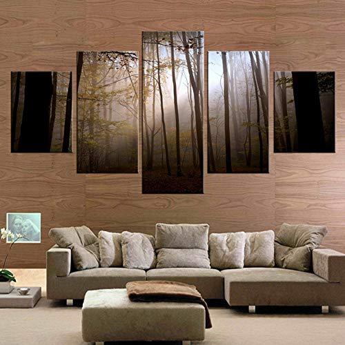 WLHDM 5 Panel dunklen großen Wald leinwand wandbild Kunst Dekoration Wohnzimmer leinwand Druck Moderne malerei Ohne Rahmen - Wald Leinwand Kunst