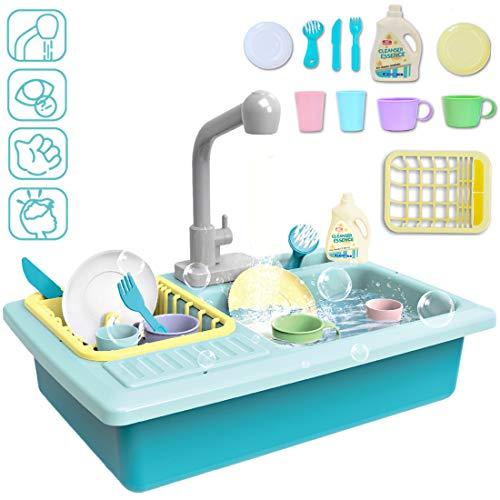 deAO Spielset für Kinder mit vorgetäuschtem Spülbecken, simuliertem Wasserhahn und enthaltenem Küchenzubehör - Blau