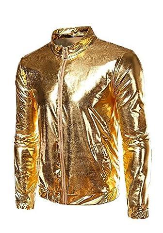 JKQA Men's Metallic Gold Front-Zip Jacket (L, Gold)