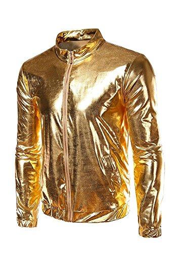 jkqa da uomo oro metallizzato front-zip giacca Gold Large