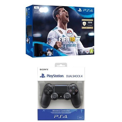 PlayStation 4 (PS4) - Consola de 1 TB + FIFA 18 + Sony - Dualshock 4 V2 Mando...