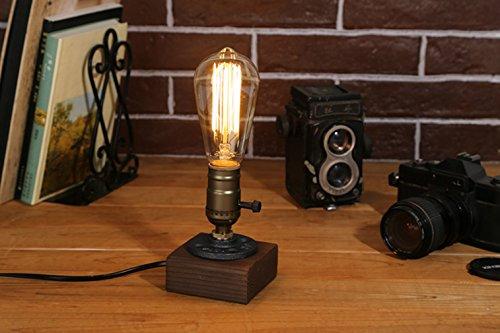 [Updated] Rétro Industrielle Edison Lampe de Table en Bois et Métal Culot E27 Lampe de Bureau Chevet Chambre Café Bar Restaurent
