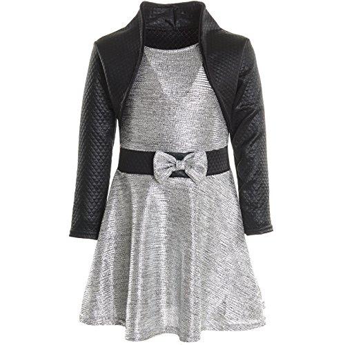 BEZLIT Mädchen Kinder Spitze Winter Kleid Peticoatkleid Festkleid Lang Arm Kostüm 20796, Farbe:Silber;Größe:152