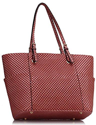 LeahWard® Damen Übergröße Schulter Handtasche Damen Qualität Kunstleder Berühmtheit Käufer Tragetaschen CWS00350 CWS00476 CWS00471 Rosa