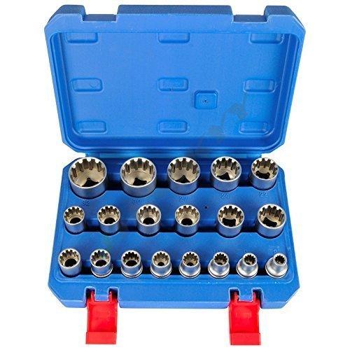 Preisvergleich Produktbild Gear Lock Steckschlüssel Vielzahn Torx Zoll Werkzeug 19 tlg Außen Innen Nüsse//Gearlock Steckschlüssel Satz