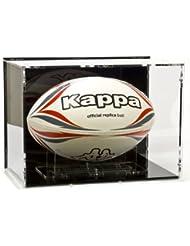 Rugbyball Vitrine mit schwarzem Boden und schwarzer Rückwand für Größe 5