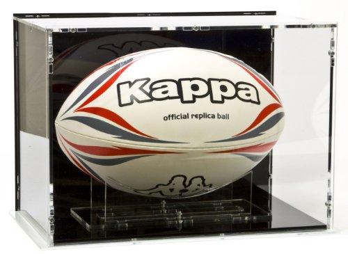 SORA Vitrine de Ballon de Rugby Taille 5, avec Base Noir et Panneau d'arrière Noir