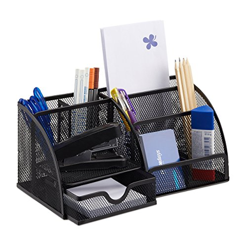 Relaxdays Schreibtischorganizer 6 Ablagen, kompakter Büroorganizer Metall, Schublade, Zettehalter, Stifteköcher, schwarz -