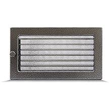 Rejilla de ventilación rejilla de aire Rejilla de aire caliente para chimenea–Negro y Plata Varios Tamaños 10,25cm 17x 11cm 17x 17cm 17x 30cm 17x 40cm 17x 50cm