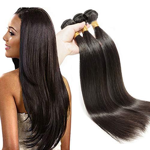 Extension tessitura capelli veri matassa doppia 3 bundles- 35cm 40cm 45cm 300g - 100% brazilian virgin human hair extensions lisci umani straight 1b# nero naturale