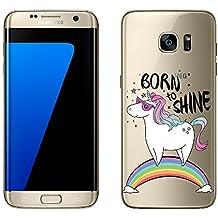 Samsung Galaxy S7 Edge cas par licaso® pour le modèle Born to Shine Licorne Arc en Ciel TPU Samsung S7 Edge silicone ultra-mince Protégez votre Samsung S7 Edge est élégant et couverture voiture cadeau
