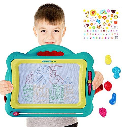 Magnetische Kleinkind Zeichnung (NextX Große Magnetische Maltafel Zaubertafeln für Kinder ab 3 Jahren - Pädagogische Magnettafel Spielzeug-Geschenk mit 5 Form-Stempeln und schönen Aufklebern)