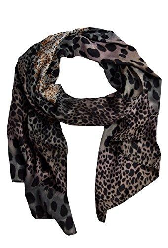 Damen Schal und Tuch Halstuch in edlem Leoparden Muster Print Schwarz/Braun