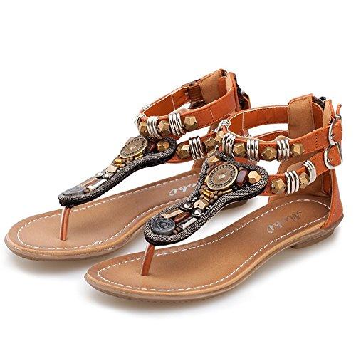 Angrousobiu le antiche calzature femminili clip bordato pin piatto sandali estivi studente bohemian calzature donna disordini etnici,37, colore marrone chiaro