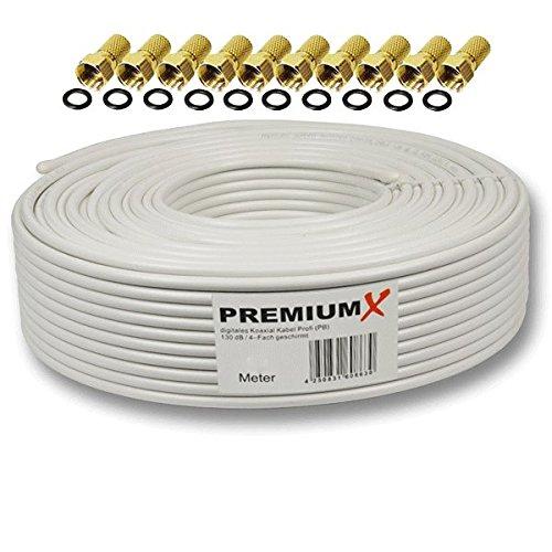 50m PremiumX PROFI Koaxial Kabel 130 dB 4-Fach geschirmt, REINES KUPFER SAT Antennenkabel 50 m 130dB 135 + 10x F-Stecker 7,5mm in Farbe 'Gold' GRATIS DAZU