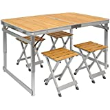 Mesa para acampada + 4 Taburetes | Plegable Portátil | Altura Regulable | en Aluminio y Bambú | ideal para picnics camping playa jardín etc | ca 110x70cm