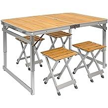 Tavolino da campeggio regolabile in altezza | Tavolo + 4