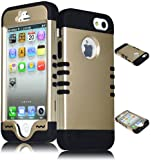 Bastex Heavy Duty Hybrid Case iPhone 5, 5S, 5th Generation - Black Silicone / Gold Hard Shell