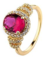 Lukis Women Round Vintage Ring Princess Cocktail Party Formal Rings Jewelry Present Hot Pink M