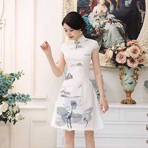 ACVIP Vistoso Poco Elegante Cheongsam Aderente Donna Costume Cinese Tradizionale Bianco Loto Bianco