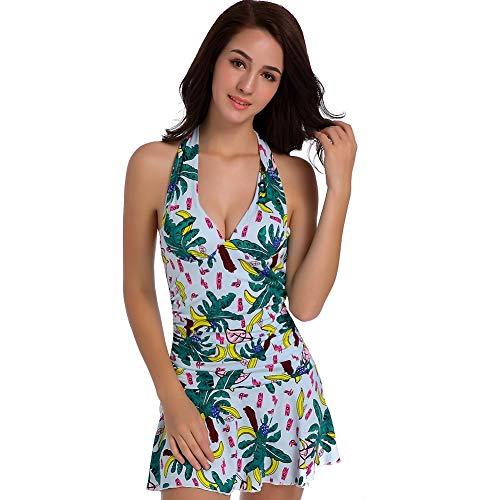 YWJJYH Push Up Floral Dos Nu Gros Seins Plus Mince Maillot De Bain Une Pièce Imprimé Banane Couverture Ventre Bikini Contrôle Tummy Maillots De Bain Maillots De Bain Plage, XL