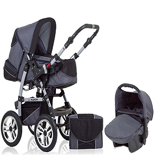 "15 teiliges Qualitäts-Kinderwagenset 3 in 1 ""FLASH"": Kinderwagen + Buggy + Autokindersitz – all inklusive Paket in Farbe GRAU-SCHWARZ"