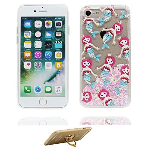 """iPhone 7 Hülle, Skin harte freie Handyhülle iPhone 7, Glitter Bling Transparent Hard Clear funkelt Shinny fließend, Apple iPhone 7 Case Cover 4.7"""", Schock-bestän und Ring Ständer ( Lilie Lily) # 3"""