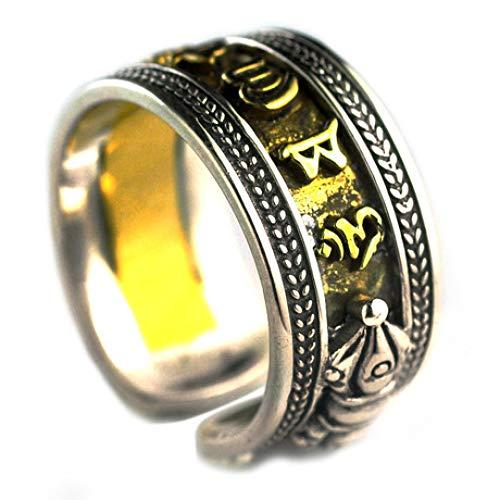 WHX Ringe Damen,S925 Sterling Silber Sechs-Wort Mantra offenen Herrenring Thai Silber Gold Stahl Emaille Schmuck für alle Gelegenheite