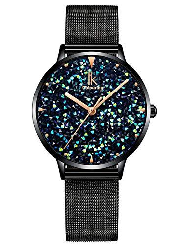 Alienwork Damen-Armbanduhr Quarz schwarz mit Metall Mesh Armband Edelstahl blau Strass-Steinen Glitzer elegant