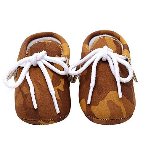 La Cabina Chaussures Bébé Fille garçon -Chaussure Bébé Fille Garçon Premier Pas -Chaussures Souples Confortable - Chaussures Antiglisse pour Printemps été (6-12 mois, vert) marron