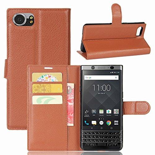 Guran® PU Ledertasche Case für BlackBerry KEYone Smartphone Flip Deckung Standfunktion und Karte Slot Telefonkasten Etui-braun