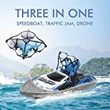 Fixed High Drone Sea Land Air Tre-in-one Telecomando Auto Motoscafo Barca Mini aereo Elettrico Drift Racing 3-in-1 Telecomando Quadcopter Hovercraft, Best Drone per Giocattoli per bambini Regalo