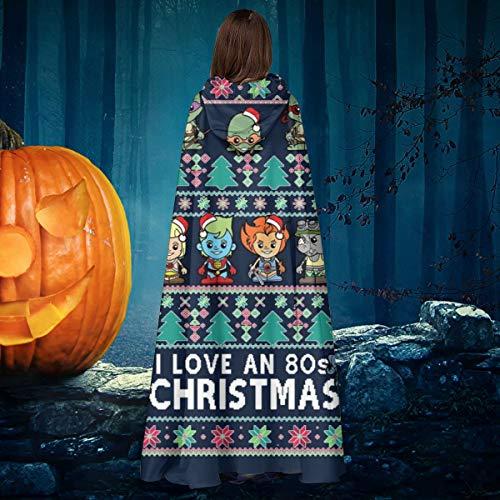 AISFGBJ Lil 80s Cartoon Figuren Weihnachten Strick Unisex Weihnachten Halloween Hexe Ritter Kapuzenmantel Vampir Umhang Umhang Cosplay (Cartoon Figur Halloween Kostüm)