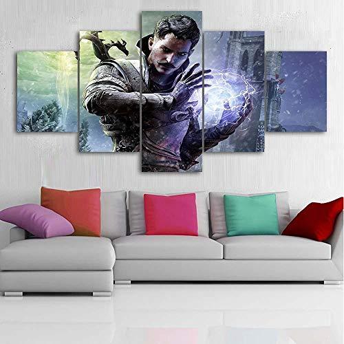 13tdfc stampe e quadri su tela 5 pezzi tela wall art videogioco dragon age murale quadri moderni soggiorno xxl casa corridoio decor regalo creativo
